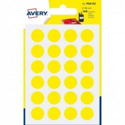AVERY Sachet de 168 pastilles Ø15 mm. Ecriture manuelle. Coloris jaune.