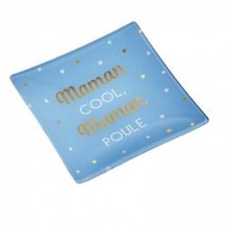 """DRAEGER Vide-poches carré 12cm en verre avec message """"Maman Cool Maman Poule"""" Bleu"""