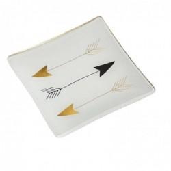 DRAEGER Vide-poches carré 12cm en verre avec motif Flèches Blanc