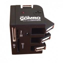 WAYTEX Hub USB 2.0 auto alimenté compact 3 ports articulés + lecteur multi cartes flash