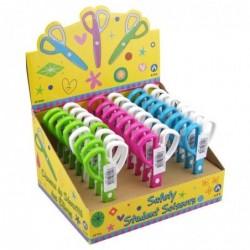 WAYTEX Ciseaux scolaires enfant plastique stand de 24 pièces