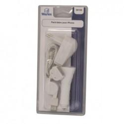 WAYTEX Pack blanc chargeur sect al cigare / cordon rétract / main libre pour iPhone 3/4