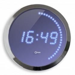 ORIUM Horloge ronde 30 cm LED Bleue Contour Chromé (Secteur 1,80 m )