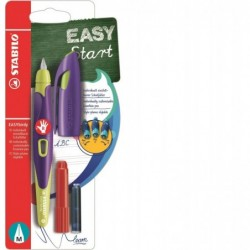 STABILO Blister x 1 stylo-plume EASYbirdy droitier + 1 clé de réglage - jaune/violet