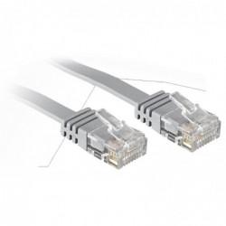 LINDY Câble réseau plat Patch cat.6 U/UTP, cuivre, gris, 0,3m