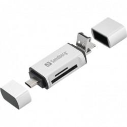SANDBERG Lecteurs de Carte mémoire USB-C+USB+MicroUSB (MicroSD (TransFlash),SD, Argent