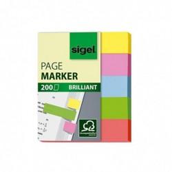 SIGEL HN625 Marque-pages adhésifs en papier, 200 feuilles de 5 x 1,2 cm, 5 couleurs