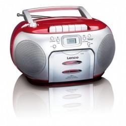 LENCO SCD-420 Radio FM portable avec lecteur CD et lecteur de cassettes Rouge