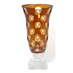 CRISTAL DE PARIS vase 39cm pastille ambre cristal