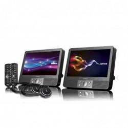 """LENCO DVP-938 X2 Lecteur DVD portatif double de 9 """"(22,5 cm) avec USB, SD et 2 casques"""