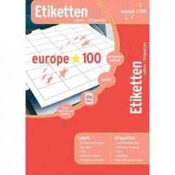 EUROPE 100 étiquettes universelles, blanc, 210 x 297 mm