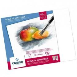 CANSON Paquets de 5 feuilles, Papier à dessin HUILE & ACRYLIQUE, 290 g/m2,