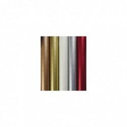 CLAIREFONTAINE Rouleau de papier cadeau métallisé uni pailleté 70g. 1,5x0,7m. 5 coloris assortis