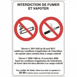 """BEQUET Panneau 21x15cm """"interdiction de fumer et vapoter"""" en PVC 75/100ème"""