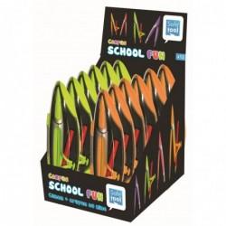 SAFETOOL Présentoir 12 compas crayon coloris assortis vert et orange