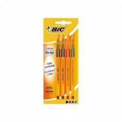 BIC Blister de 4 Stylos-billes Orange Grip Noir/Bleu/Rouge/Vert