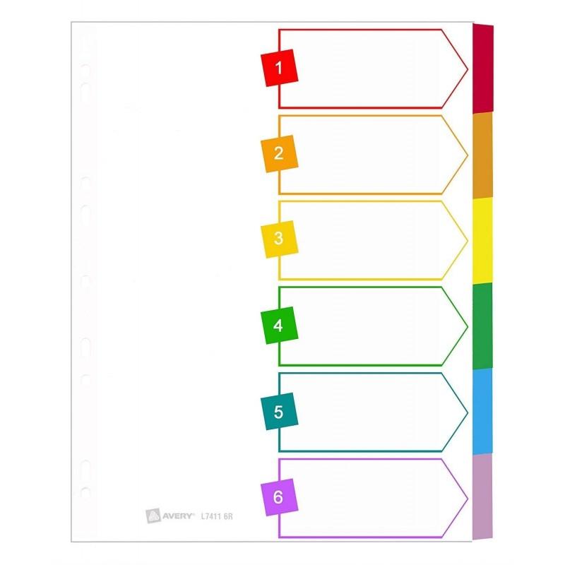 AVERY Intercalaires 6 touches carte blanche onglets plastifiés de couleur Format A4