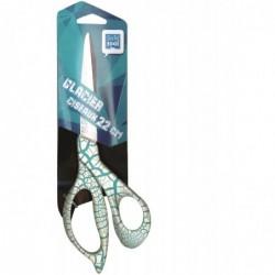 """SAFETOOL Ciseaux 22 cm gamme """"GLACIER"""" anneaux asymétrique bi couleur blanc/turquoise"""