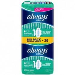 ALWAYS Big pack 26 Serviettes Ultra Normal 1 avec ailettes