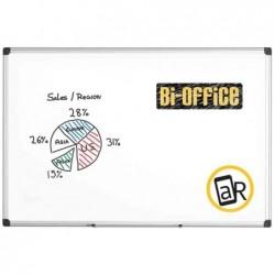 "BI-OFFICE Tableau Blanc ""Maya"" 90 x 60 cm Emaillé Intensif Cadre Alu et Plumier"
