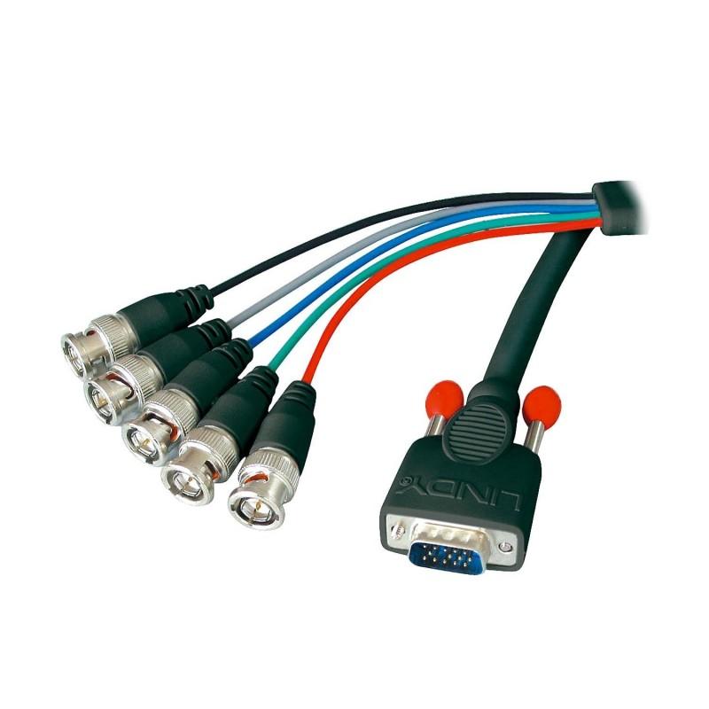 LINDY Câble VGA HD-15/5BNC M/M. 1,8m