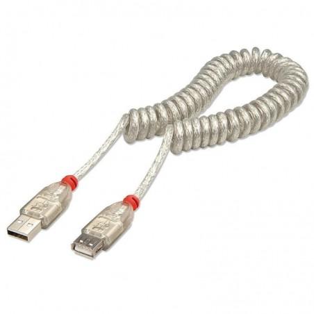 LINDY Câble spirale USB 2.0, type A M/F, gris clair