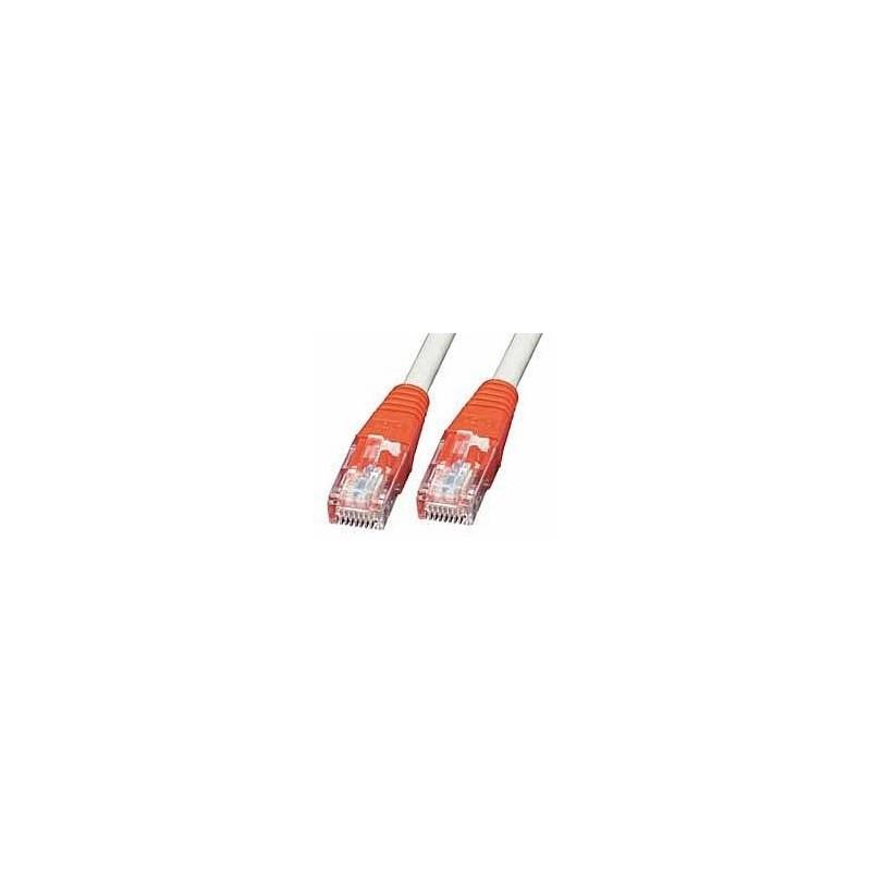 LINDY Câble réseau Patch croisé cat.6 U/UTP, cuivre, 250MHz, gris avec prise rouge, 7,5m