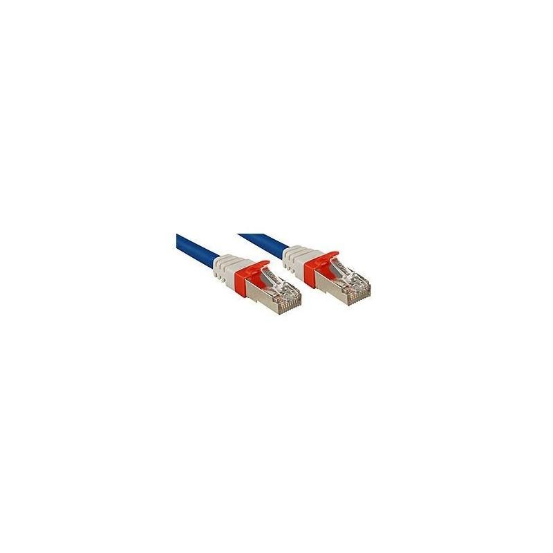 LINDY Câble réseau patch cat.6A S/FTP PIMF Premium, cuivre, 10 Gbit, 500Mhz, LSOH, bleu, 0,5m