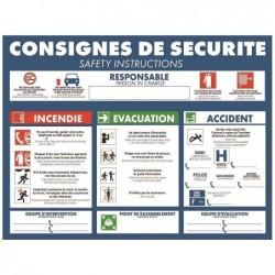 """BEQUET Pancarte 29.5 x18 cm """"CONSIGNES DE SECURITES"""" en PS blanc"""
