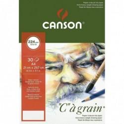 """CANSON Bloc papier dessin """"C"""" à grain, A4, 224 g/m2"""