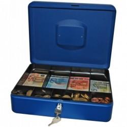 RESKAL Caisse à monnaie 90 X 300 x 240 mm coloris bleu mat  casier avec 9 compartiments