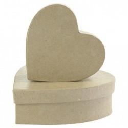 DÉCOPATCH Decopatch Lot de 2 boîtes de cœur, Papier, Marron, 4 x 12 x 12 cm
