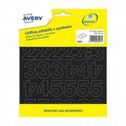 AVERY 200C - 177 chiffres adhésifs + symboles - 20 mm / Noir
