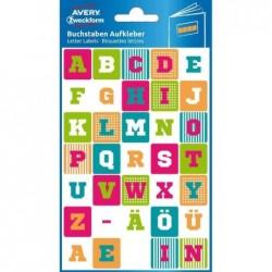 AVERY ZWECKFORM étui de 2 feuilles de 25 Stickers, lettres, couleurs assorties