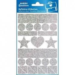 AVERY ZWECKFORM étui de 1 feuille de 27 Stickers réfléchissants, argent, motifs