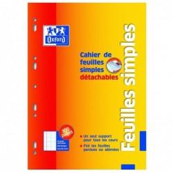 OXFORD Cahier de 50 Feuillets Mobiles (100 Pages) Détachables Perforées 21x29,7cm Seyès blanc