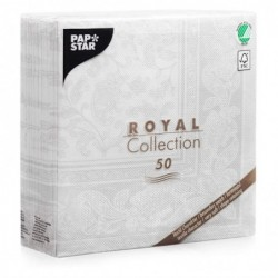 """PAPSTAR Pack de 50 Serviettes """"ROYAL Collection Ornaments"""", blanc"""