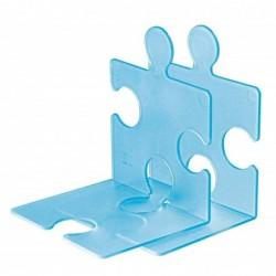 HAN Pack de 2 Serre-livres / porte CD PUZZLE Bleu translucide