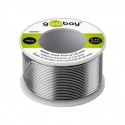 GOOBAY Bobine 100g Fil à Souder Etain Sans Plomb Diam 1 mm 0.3% silver 0.7% copper 96.5%