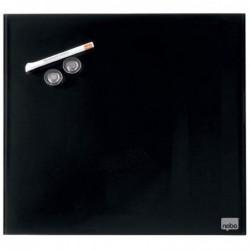 NOBO Tableau Magnétique en Verre 30 x 30 cm Design Carré Marqueur / Aimants Noir