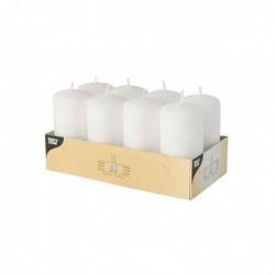 PAPSTAR Lot de 8 Bougies Cylindrique Diam 50 mm H 100 mm Env. 16 h Blanc