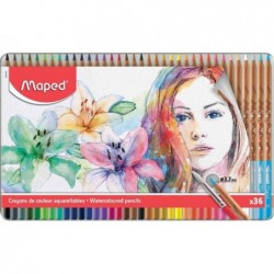 MAPED étui métal de 36 crayons de couleur, aquarellable