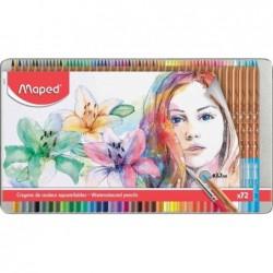 MAPED étui métal de 72 crayons de couleur, aquarellable