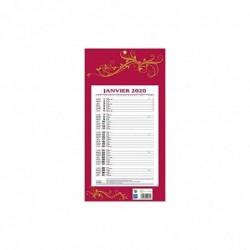 BOUCHUT Calendrier bloc mensuel à feuillets année civile 409 Rouge 19 x 36 cm 2020