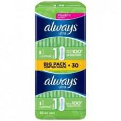 ALWAYS Pack 30 Serviettes Ultra Normal Flex Fit Taille 1