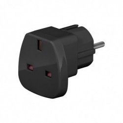 GOOBAY travel adapter, black - UK to safety plug CEE 7/7 travel adapterbrUK to safety plug CEE 7/7