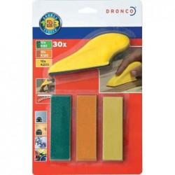 DRONCO Mini Kit Ponçage 1 Cale + 3 x 10 Papier Grain 80 / 120 / 220