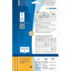 HERMA Etui de 60 Etiquettes SuperPrint Rondes Diam 60mm sur 25 feuilles A4 Blanc