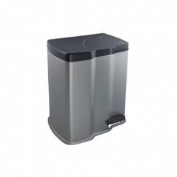 OKT Poubelle ECO Bin 2 bacs 7 et 15 Litres  H 43 cm Argent/anthracite
