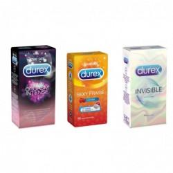 DUREX Pack Préservatifs - Invisible + Sexy Fraise + Orgasm'Intense - 3x10 Préservatifs